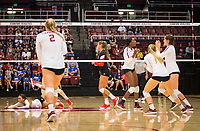 STANFORD, CA - November 4, 2018: Kathryn Plummer, Tami Alade, Jenna Gray, Audriana Fitzmorris at Maples Pavilion. No. 2 Stanford Cardinal defeated the Utah Utes 3-0.