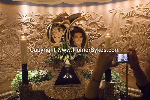 Harrods Department store. The Diana Princess of Wales and Dodi Al Fayad Memorial, with ring is glass pyramid. London UK 2009.