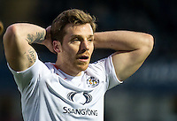Johnny Mullins of Luton Town after seeing the red card by Referee Mark Heyward during the Sky Bet League 2 match between Wycombe Wanderers and Luton Town at Adams Park, High Wycombe, England on the 21st January 2017. Photo by Liam McAvoy.