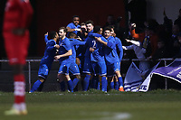 Aveley players celebrate their second goal during Hornchurch vs Aveley, Buildbase FA Trophy Football at Hornchurch Stadium on 11th January 2020
