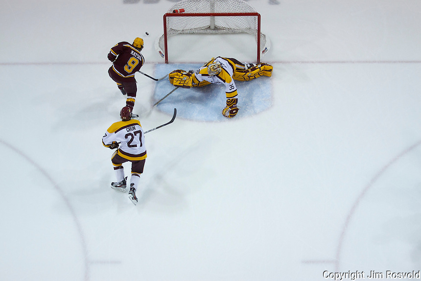 14 Oct 11: Kenny Reiter (Minnesota-Duluth - 35), Taylor Matson (Minnesota - 9) The University of Minnesota-Duluth Bulldogs host the University of Minnesota Golden Gophers in a WCHA matchup at Amsoil Arena in Duluth, MN.