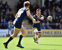 Ryan Mills of Worcester Warriors passes the ball. Aviva Premiership match, between Worcester Warriors and Bath Rugby on April 15, 2017 at Sixways Stadium in Worcester, England. Photo by: Patrick Khachfe / Onside Images