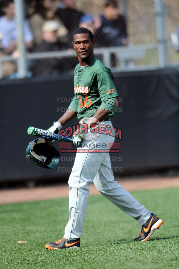 University of Miami Hurricanes outfielder Dale Carey #36 during a game versus the Boston College Eagles at Shea Field in Chestnut Hill, Massachusetts on April 26, 2013.  (Ken Babbitt/Four Seam Images)