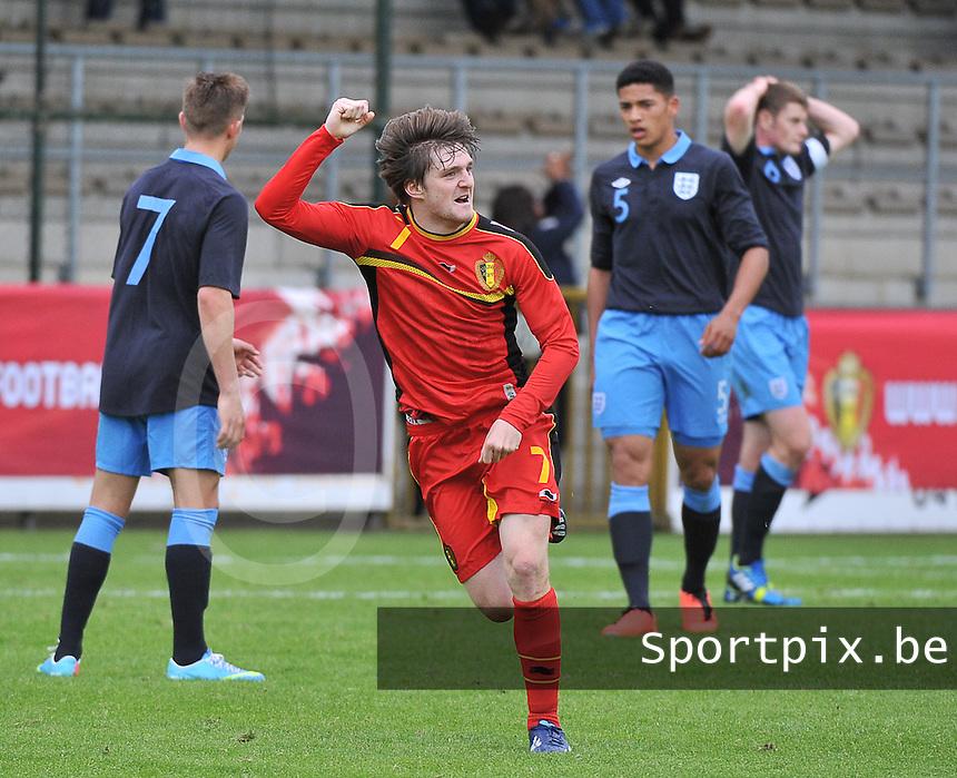 Belgium U19 - England U19 : Thomas Foket (7) celebrates his goal for Belgium 1-0.foto DAVID CATRY / Nikonpro.be