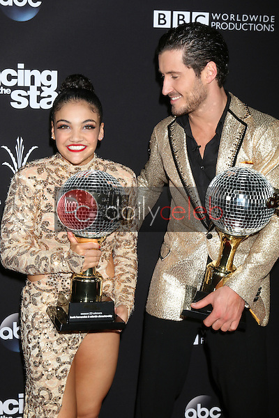 """Laurie Hernandez, Valentin Chmerkovskiy<br /> at the """"Dancing With The Stars"""" Live Finale, The Grove, Los Angeles, CA 11-22-16<br /> David Edwards/DailyCeleb.com 818-249-4998"""