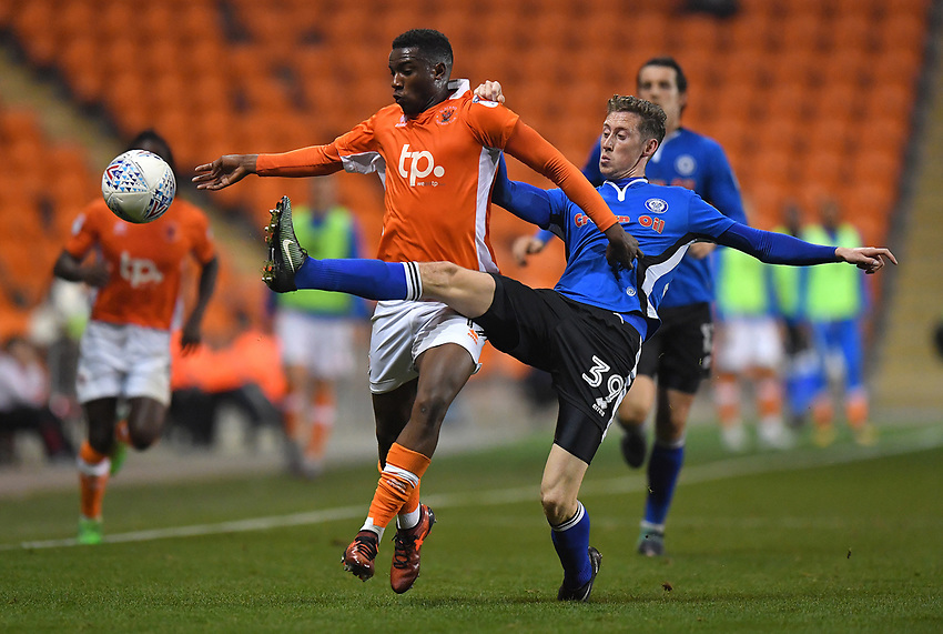 Blackpool's Viv Solomon-Otabor battles with Rochdale's Joe Bunney<br /> <br /> Photographer Dave Howarth/CameraSport<br /> <br /> The EFL Sky Bet League One - Blackpool v Rochdale  - Tuesday 26th September 2017 - Bloomfield Road - Blackpool<br /> <br /> World Copyright &copy; 2017 CameraSport. All rights reserved. 43 Linden Ave. Countesthorpe. Leicester. England. LE8 5PG - Tel: +44 (0) 116 277 4147 - admin@camerasport.com - www.camerasport.com