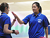 Sarah Chung of Port Washington, right, gets congratulated by teammate Jenna Worms after a bowling a strike in a girls league match against Garden City at Herrill Lanes in New Hyde Park on Monday, Dec. 19, 2016. Chung bowled a personal-best 203 in her first of a three-game series.