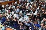 18.11.2017,  Lueneburg GER, VBL, SVG Lueneburg vs TV Rottenburg im Bild Feature die Lueneburger Fans zeigen den Block/ Foto © nordphoto / Witke
