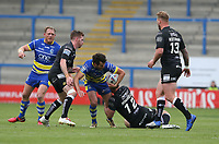 Warrington Wolves' Declan Patton is tackled by Hull FC's Mark Minichiello <br /> <br /> Photographer Stephen White/CameraSport<br /> <br /> Betfred Super League Round 15 - Warrington Wolves v Hull FC - Saturday 18th May 2019 - Halliwell Jones Stadium - Warrington<br /> <br /> World Copyright © 2019 CameraSport. All rights reserved. 43 Linden Ave. Countesthorpe. Leicester. England. LE8 5PG - Tel: +44 (0 116 277 4147 - admin@camerasport.com - www.camerasport.com