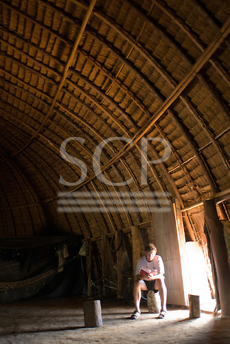 Xingu Indigenous Park, Mato Grosso State, Brazil. Aldeia Yawalapiti. Interior of traditional oca house.