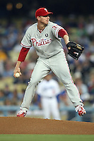 08/9/11 Los Angeles, CA: Philadelphia Phillies starting pitcher Roy Halladay #34 during an MLB game against the Los Angeles Dodgers played at Dodger Stadium. The Phillies defeated the Dodgers 5-3.