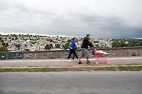 Approaching the Santa Fe section of Mexico City. Drive by shooting from my car window in Mexico Df, Mexico