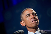 """United States President Barack Obama pauses while speaking at the Democratic National Committee's (DNC) annual Women's Leadership Forum in Washington, D.C., U.S., on Friday, September 19, 2014. Speaking at an event today at the White House, President Obama rolled out the """"It's On Us"""" campaign to encourage college students, especially men, to speak out against and prevent sexual assault on campuses. <br /> Credit: Andrew Harrer / Pool via CNP"""