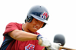 25 August 2008: Hudson Valley Renegades outfielder Kyeong Kang prepares to take batting practice prior to a game against the Vermont Lake Monsters at historic Centennial Field in Burlington, Vermont. The Lake Monsters defeated the Renegades 8-5 in the second game of their three-game series in Vermont...Mandatory Credit: Ed Wolfstein Photo