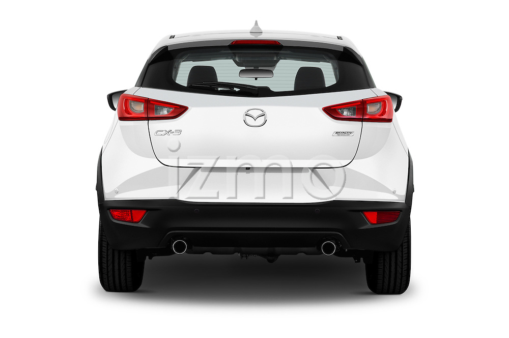 Straight rear view of 2015 Mazda CX-5 Skycruise 5 Door Suv Rear View  stock images