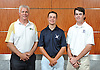 The Newsday All-Long Island boys golf team poses for a group photo at company headquarters on Wednesday, June 15, 2016. Appearing are, from left, Coach Bob Spira of Ward Melville, Tyler Gerbavsits of Huntington and Mickey Brennan of St. Dominic.