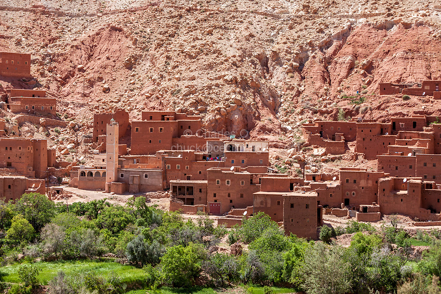 Morocco.  Village with Houses in Traditional Style along Highway P1506, between Ait ben Haddou and Telouet, Atlas Mountains.