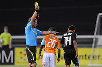 Major League Soccer referee Alex Prus gives DC United midfielder Andy Najar a yellow card after a foul.   The Houston Dynamo defeated DC United 3-1, at RFK Stadium, Saturday September 25, 2010.