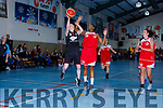 Eileen O'Connor St Marys shoots despite the efforts of Ashley Cunningham St Matthews  during the Senior Ladies final at the St Marys Basketball Blitz on Saturday