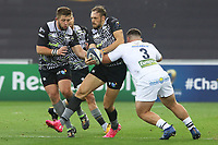 Cory Allen of Ospreys is tackled by Rabah Slimani of Clermont during the Champions Cup Round 1 match between Ospreys and Clermont at The Liberty Stadium, Swansea, Wales, UK. Sunday 15 October 2017