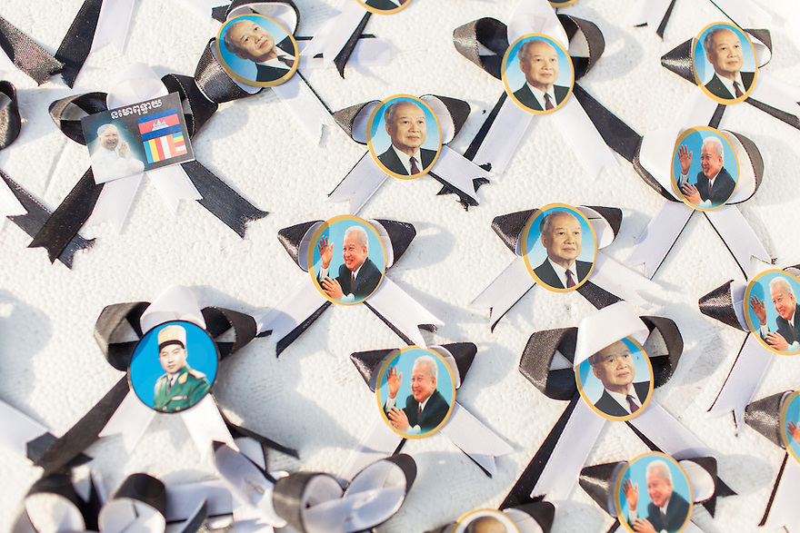 Febuary 3, 2013 - Phnom Penh. Black ribbons with images of King Norodom Sihanouk are for sale near the Royal Palace. Black ribbons are used in funeral ceremonies in Cambodia as a symbol of mourning. © Nicolas Axelrod / Ruom