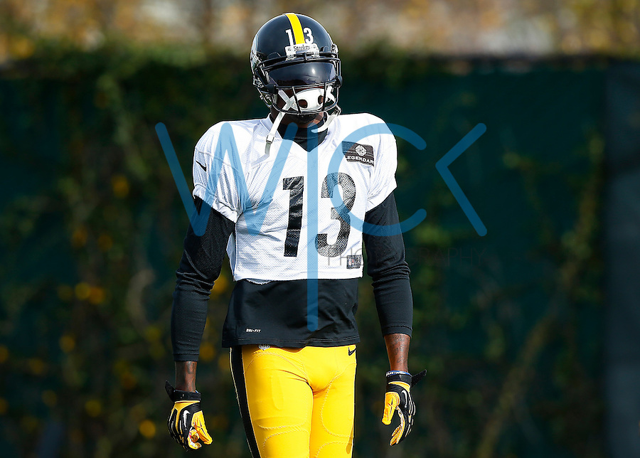 Jacoby Jones #13 of the Pittsburgh Steelers practices at the south side practice facility on November 18, 2015 in Pittsburgh, PA.