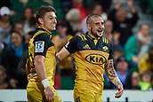 June 3rd 2017, NIB Stadium, Perth, Australia; Super Rugby; Force v Hurricanes;  TJ Perenara of the Hurricanes celebrates his try