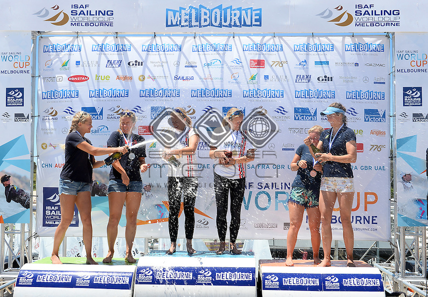 Podium : (2nd) Helene Naess &amp; Marie Ronningen (NOR)<br /> (1st overall) Ragna &amp; Maia Agerup (NOR)<br /> (3rd) Tess Lloyd &amp; Caitlin Elks (AUS)<br /> Racing / Day 7 - 49er FX<br /> ISAF Sailing World Cup - Melbourne<br /> Sandringham Yacht Club<br /> Sunday 14  December 2014<br /> &copy; Sport the library / Courtney Crow