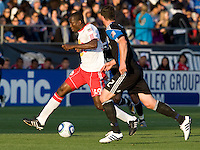 Salou Ibrahim of Red Bull in action during the game against Earthquakes at Buck Shaw Stadium in Santa Clara, California.  San Jose Earthquakes defeated New York Red Bulls, 4-0.