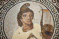 Picture of a Roman mosaics design depicting Orpheus, god of music, playing his lyre,  from the ancient Roman city of Thysdrus, Bir Zid area. 2nd century AD. El Djem Archaeological Museum, El Djem, Tunisia.
