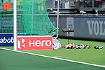 The Hague, Netherlands, June 07: Facemasks and gloves behind the goal during the field hockey group match (Men - Group A) between England and Australia on June 7, 2014 during the World Cup 2014 at Kyocera Stadium in The Hague, Netherlands. Final score 0-5 (0-4) (Photo by Dirk Markgraf / www.265-images.com) *** Local caption ***
