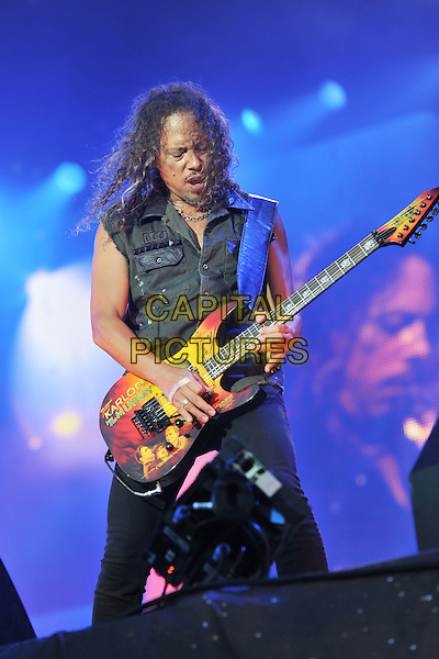 Kirk Hammett of Metallica .Performing live during Day 1 of Sonisphere festival, Knebworth House, England, UK, 8th July 2011..music live on stage gig concert half length black sleeveless shirt playing guitar  .CAP/MAR.© Martin Harris/Capital Pictures.