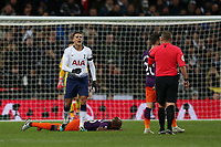 Erik Lamela of Tottenham Hotspur questions a decision during Tottenham Hotspur vs Manchester City, Premier League Football at Wembley Stadium on 29th October 2018