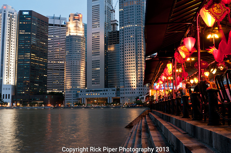 """Singapore Boat Quay 02 - Riverside restaurants in the evening on the Boat Quay, Singapore. See """"Special Instructions"""" below for stock licence restrictions."""