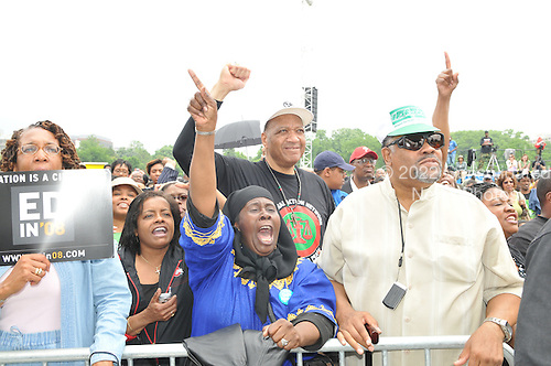 """Washington, DC - May 16, 2009 -- Supporters cheer Rev. Al Sharpton's speech at the """"Close the Gap: Education Equality Day"""" on the White House Ellipse in Washington, D.C. on Saturday, May 16, 2009..Credit: Ron Sachs / CNP.(RESTRICTION: NO New York or New Jersey Newspapers or newspapers within a 75 mile radius of New York City)"""