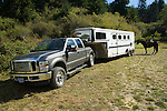 Pickup, horse trailer and horse in Crescent City California