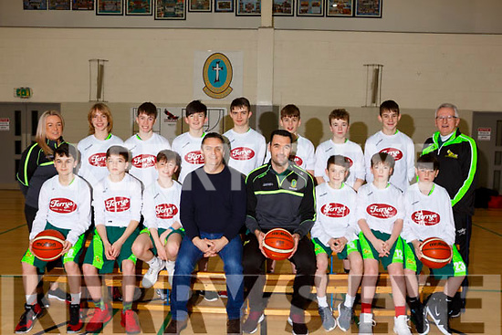The Mercy Mounthawk U14 Basketball team who qualified for the All Ireland basketball series.<br /> Seated l-r, Sean Rice, Darragh O&rsquo;Connor, Fionan Egan, Terry Healy (Sponsor), John Dowling (Teacher), Jack Doyle, Cian O&rsquo;Shea and Darragh O&rsquo;Mara.<br /> Standing l-r, Lindsay Moriarty (Teacher),Coren Hughes, Killian Litchfield, Donal O&rsquo;Sullivan, Evan Healy, Jack McCormack, Simon Carey, Jamie Sugrue, and Jimmy Diggins (Basketball coach).