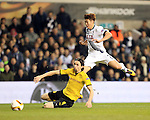Tottenham's Son Heung-Min tussles with Dortmund's Neven Subtonic during the Europa League match at White Hart Lane Stadium.  Photo credit should read: David Klein/Sportimage