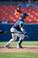Lynchburg Hillcats left fielder Mitch Longo (10) at bat during the first game of a doubleheader against the Frederick Keys on June 12, 2018 at Nymeo Field at Harry Grove Stadium in Frederick, Maryland.  Frederick defeated Lynchburg 2-1.  (Mike Janes/Four Seam Images)