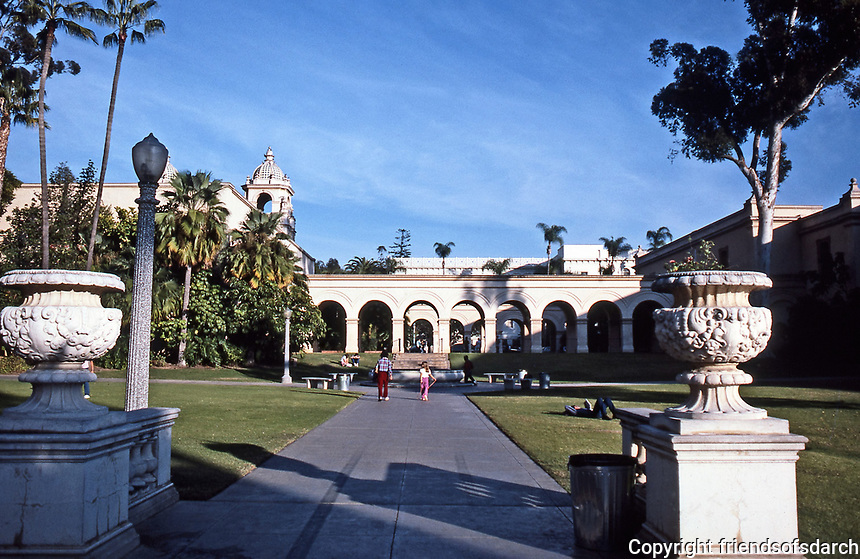 Balboa Park, San Diego. Picturesque walkways and landscaped grounds Photo 1987.