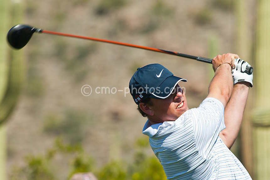 Feb 26, 2009; Marana, AZ, USA; Justin Leonard (USA) hits his tee shot on the 7th hole during the second round of the World Golf Championships-Accenture Match Play Championship at the Ritz-Carlton Golf Club, Dove Mountain.