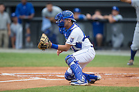 Burlington Royals catcher Michael Arroyo (11) waits for a throw at home plate during the game against the Bluefield Blue Jays at Burlington Athletic Stadium on June 27, 2016 in Burlington, North Carolina.  The Royals defeated the Blue Jays 9-4.  (Brian Westerholt/Four Seam Images)