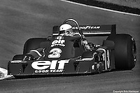 Jody Scheckter drives the Tyrrell P34 six-wheel Formula 1 car during the 1976 Grand Prix of Canada at Mosport.