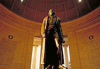 Statue of Thomas Jefferson at the Jefferson Memorial in Washington. Historical, Presidents, Tourism, National Parks. Washington DC USA.