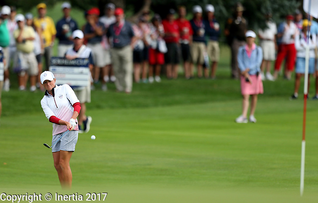 DES MOINES, IA - AUGUST 19: USA's Stacy Lewis chips on the 4th green during Saturday morning's foursomes match at the 2017 Solheim Cup in Des Moines, IA. (Photo by Dave Eggen/Inertia)