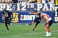 24 September 2011:  FIU kicker Jack Griffin (38) kicks off in the first quarter as the University of Louisiana-Lafayette Ragin Cajuns defeated the FIU Golden Panthers, 36-31, at FIU Stadium in Miami, Florida.