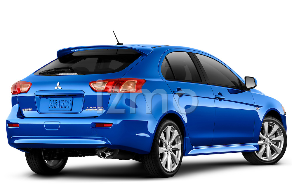 Rear three quarter view of a 2012 Mitsubishi Lancer Sportback GT