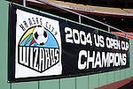 16 October 2004: The Wizards display a banner celebrating their recent victory in the Lamar Hunt US Open Cup. The Kansas City Wizards defeated the Los Angeles Galaxy 1-0 at Arrowhead Stadium in Kansas City, MO in a regular season Major League Soccer game..