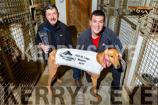 Liam and Shane Dowling with their dog Ballymac Anton the 2019 Irish St Leger champion who won in Limerick last Saturday night.