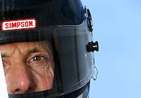 Sept. 1, 2013; Clermont, IN, USA: NHRA pro stock motorcycle rider Steve Johnson during qualifying for the US Nationals at Lucas Oil Raceway. Mandatory Credit: Mark J. Rebilas-